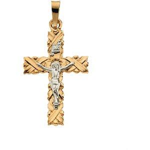 14 Carats Or Jaune Pendentif Crucifix 34,5 x 23.5 mm-JewelryWeb