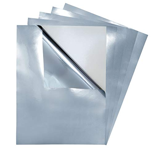 5 Pack - Adhesive Backed Silver Metallic Vinyl Film, Glossy Reflective Mirror Finish, Sticky Back Sticker Sheets, 9