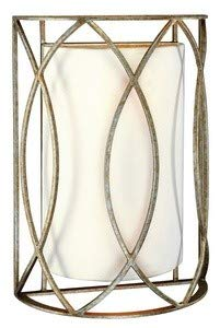 Troy Lighting Sausalito 2-Light Wall Sconce - Silver Gold Finish with Hardback Linen Shade