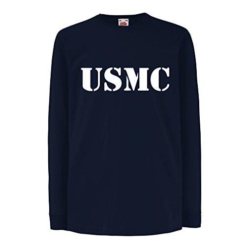 lepni.me T-Shirt For Kids US Marine t Shirt Army t Shirts Marines USMC Logo (9-11 Years Blue Gold) (Homeland Security Uniform)