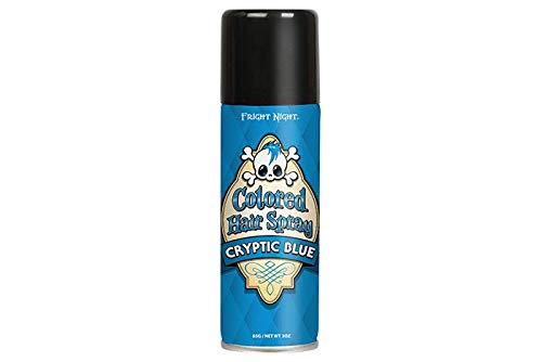 Fright Night 3 oz Colored Hair Spray - Cryptic Blue - Halloween and Costume Cosmetics