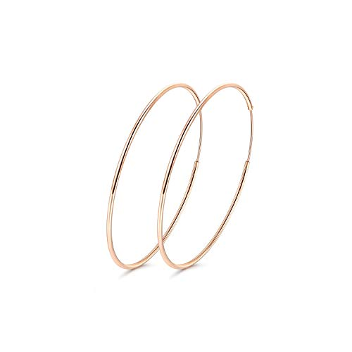 Rose Gold Plated Circle - 50MM Rose Gold Plated Circle Sterling Silver Hoop Earrings for Women Grils