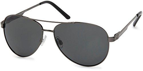 styleBREAKER polarisierte Sonnenbrille, Aviator Pilotenbrille mit Federscharnier, Etui und Putztuch, Unisex 09020046, Farbe:Gestell Anthrazit / Glas Grau