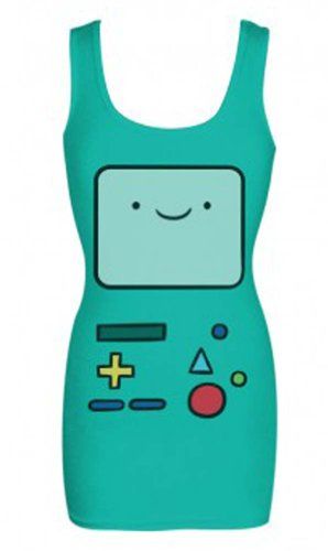 Adventure Time Beemo Face Costume Mighty Fine Cartoon Juniors Tunic Tank Top Select Shirt Size: (Marceline Adventure Time Costume)