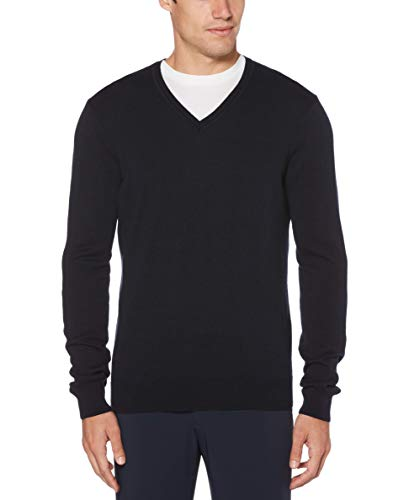 - Perry Ellis Men's Classic Solid V-Neck Sweater, Dark Sapphire, Medium