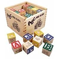 Saiyanshi Baby ABC and 123 Wooden Blocks Letters Numbers with Box (27 Pieces)