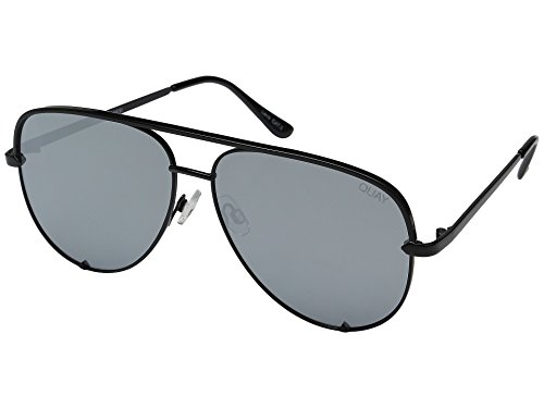 Quay Australia HIGH KEY Men's and Women's Sunglasses Classic Oversized Aviator - Black/Silver ()