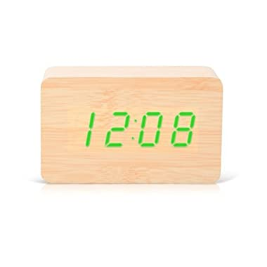 KABB Digital Wooden Alarm Clock with Natural Wood Design, Green LED Lights, Sound Activation, Snooze function, Time & Temperature Display. Decorative and Functional Morning Alarm Clock