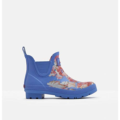 (Joules Women's Wellibob Rain Boot (8 Medium, Blue Floral))