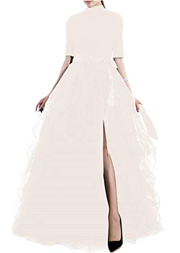 TOAH Women's Long Tutu Tulle Skirt A Line Floor Length Black Special Occasion night out fold SkirtSmall Ivory