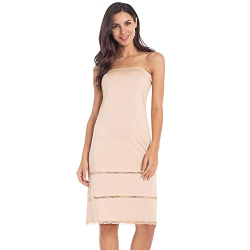 Women's Tube Top Dress Slip Strapless Midi Underdress Sleeveless Invisible Straps Nude XX-Large