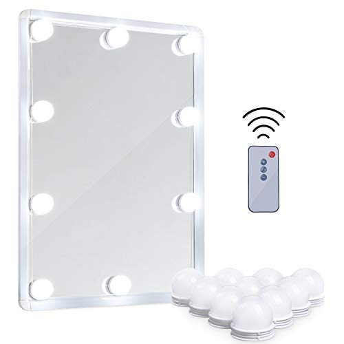 LED Vanity Mirror Lights Kit – MRah Remote Controlled Makeup Mirror Lighting Fixture with 2 Color Modes, 10 Dimmable Bulbs for Vanity Table Set, Bathroom Mirror (Mirror Not Included)