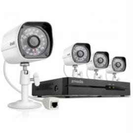 Zmodo ZP-KE1H04-S-1TB Security System, 4 Channel NVR Full HD 1TB PoC, 4 HD 720P Indoor Outdoor Night Vision IP Cameras