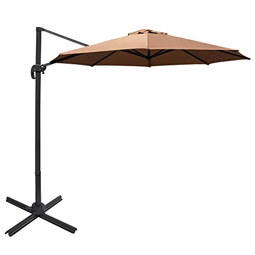 Sundale Outdoor 11 ft Offset Hanging Umbrella Market Patio Umbrella Aluminum Cantilever Pole with Cover, Crank Lift and Cross Frame, Polyester Canopy, 360°Rotation, for Garden, Deck, Backyard, Tan