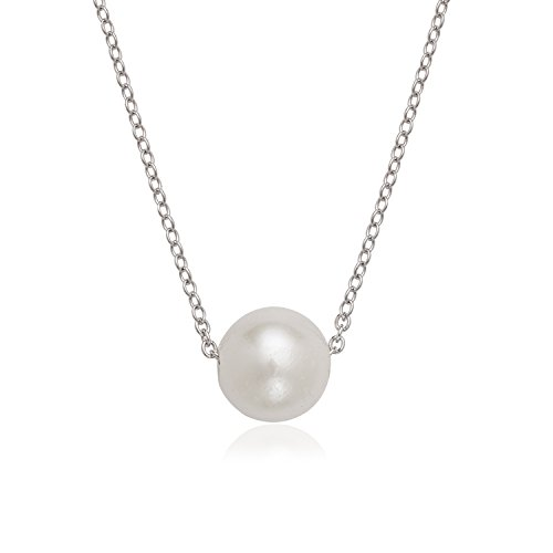 Sterling Silver, Rose Or Gold Tone Italian Single 10mm Cultured Freshwater Pearl 16+2″ Necklace Birthstone Jewelry For Women
