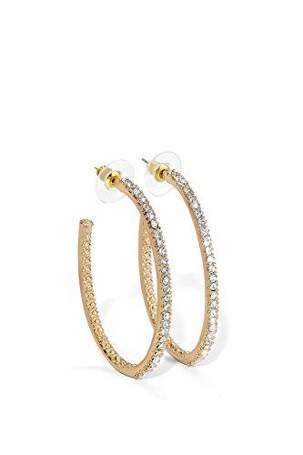 Crystal Stud Metal (Rhinestone Hoop Earrings Large Crystal Studded Metal Tube Hoops Earring Studs (gold, textured))