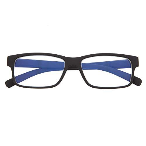 Gafas con Filtro Anti Luz Azul para Ordenador. Gafas de Presbicia o Lectura para Hombre y Mujer. Tacto Goma, Patillas Flexibles y Cristales Anti-reflejantes. Graphite +1.5 – THYSSEN