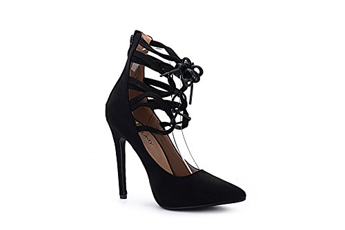 Mila Lady Ether21 Dorsay Strappy Enkel Elegantie Platform Lady Hakken Pumps Schoenen! Zwart 7