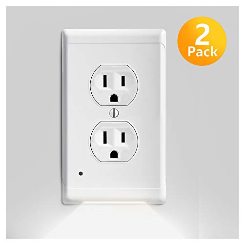 Outlet Covers with LED Night Lights, 2 Pack Guidelight Electrical Nightlight Wall Plates Vision Lighted Switch Cover Plates for Pathway Hallway, Bedroom, No Batteries/Wires
