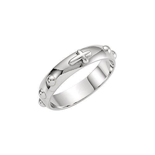 - 14K White Gold Rosary Ring Size 7