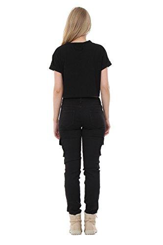 De Slim Stretch Skinny Cargo Noir Pantalon combat dqC8zxdw