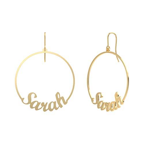 """Personalized 925 Sterling Silver Copper Hoop Name Earrings 1.5"""" Custom Made with Any Names Dangle Drop Earrings (gold-plated-brass)"""