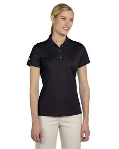 (adidas Women's Rib Knit Collar Performance Polo Shirt, Black, Medium)