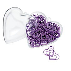 Office Depot Purple Heart Shaped Paper Clips - 80 Clips - Heart Storage Container