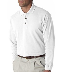 8532 UltraClub Adult Long-Sleeve Classic Piqué Polo (White) ()