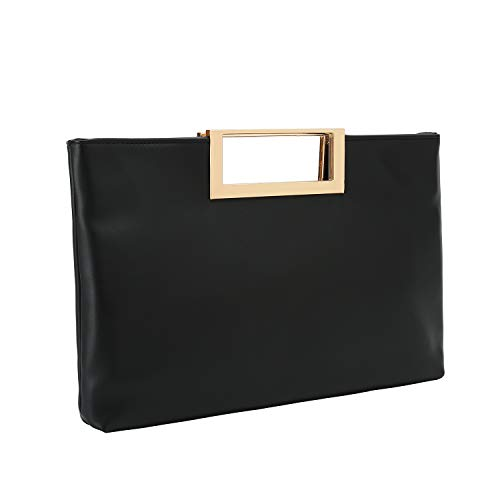 Black Evening Handbag Clutch Purse - Charming Tailor Fashion PU Leather Handbag Stylish Women Convertible Clutch Purse (Black)