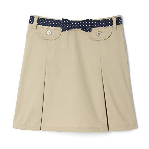 French Toast Little Girls' Polka Dot Belted Scooter, Khaki, 6