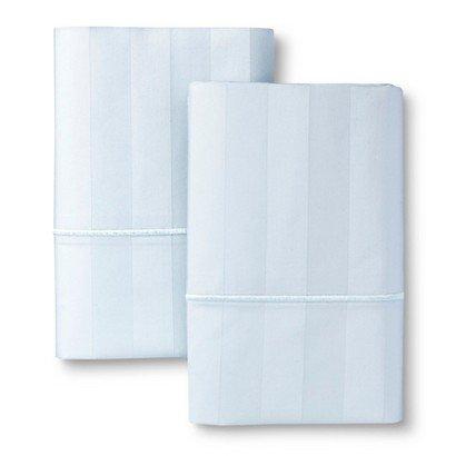 - Fieldcrest Luxury Egyptian Cotton 500 Thread Count Damask Pillowcase - King Light Blue
