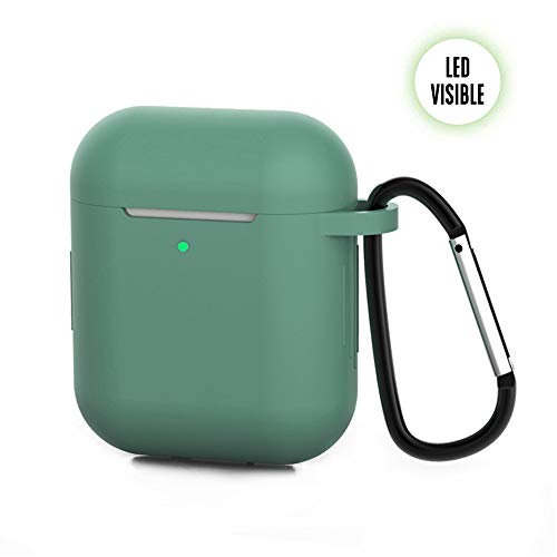 ZALU Compatible for AirPods Case with Keychain, Shockproof Protective Premium Silicone Cover Skin for AirPods Charging Case 2 & 1 (1 Pack, Forest Green)
