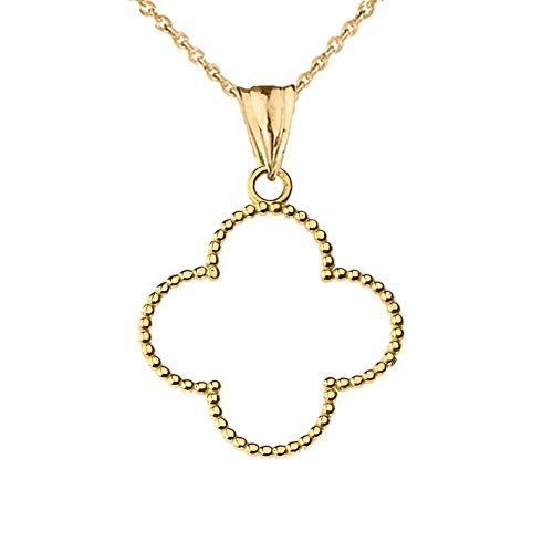 Fine 14k Yellow Gold Beaded Open Four Leaf Clover Pendant Necklace Small (1