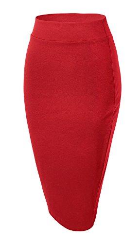 Urban GoCo Jupe Crayon au Genou Taille Haute Midi Jupe lasticit Bodycon Droite Jupe pour Femmes Rouge
