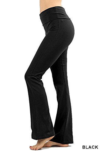 Zenana Premium Cotton FOLD Over Yoga Flare Pants,Black,Small
