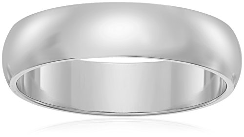 Classic Fit 10K White Gold Band, 5mm, Size 13 by Amazon Collection