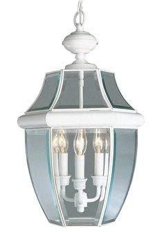 Livex Lighting 2355-03 Monterey 3-Light Outdoor Hanging Lantern, White ()