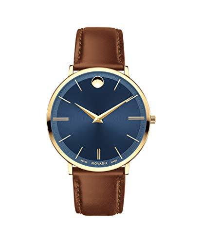 (Movado Ultra Slim, Yellow Gold PVD Case, Blue Dial, Cognac Leather Strap, Men, 0607241)