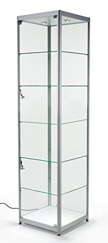 Displays2go Tempered Glass Curio Cabinet With 6 Halogen