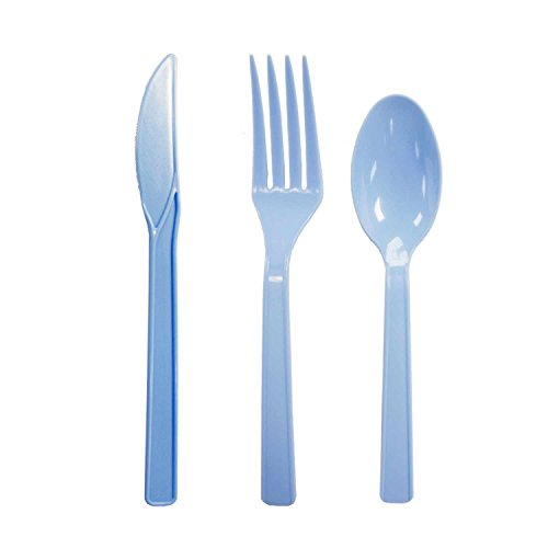 Party Essentials Hard Plastic Cutlery Combo Pack Available in 15 Colors, Light Blue, 136 Place Settings
