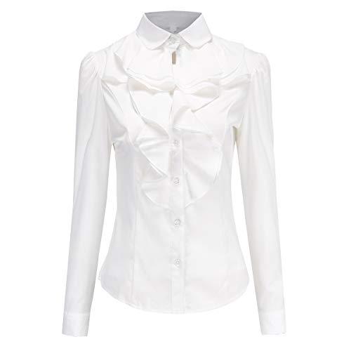 Ruffle Collar Blouse - Women's Shirts Lotus Ruffle Vintage Long Sleeve BS15 (M, White)