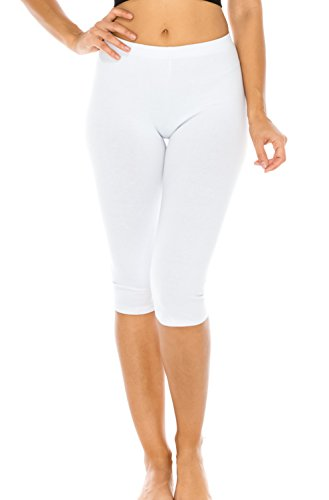 Romper Poly Cotton (CNC STYLE Women's Stretch Cotton Yoga Workout Leggings Capri Running Leggings Pants Tights(Also Plus Size) (Small, White))