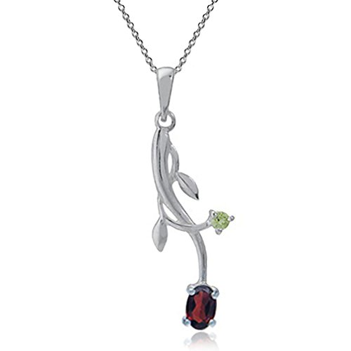 (Natural Garnet & Peridot 925 Sterling Silver Vine Leaf Pendant w/ 18 inch Chain Necklace )