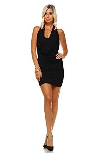 Zoozie LA Women's Club Dresses Bodycon Mini with Cowl Neck and Open Back Black L