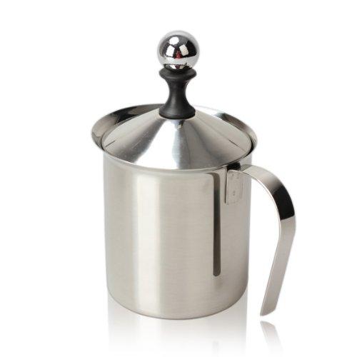Edelstahl Manueller Milchaufschäumer Milchkännchen mit Doppelsieb für Cappuccino Latte Milchschaum (400 ml)