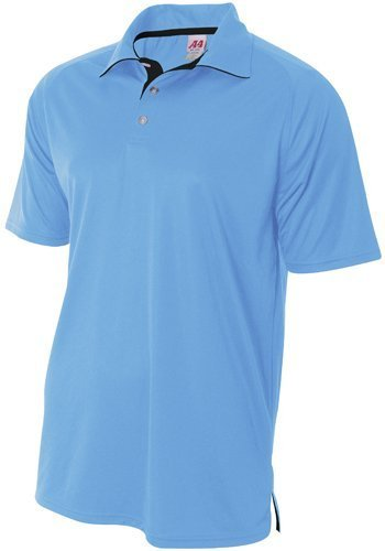 A4 Interlock Polo With Contrast Inserts (Light Blue_Black) (XL) by A4