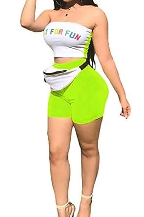 FSSE Womens Letters Print Bandeau 2 Pieces Shorts Tracksuit Outfit Set 1 2XL