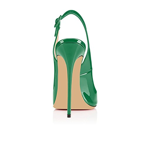 uBeauty Slingback Sandals For Women Stiletto Heels Open Toe Sandals High Heel Shoes Ankle Strap Sandals Green 3xS0xX5uag