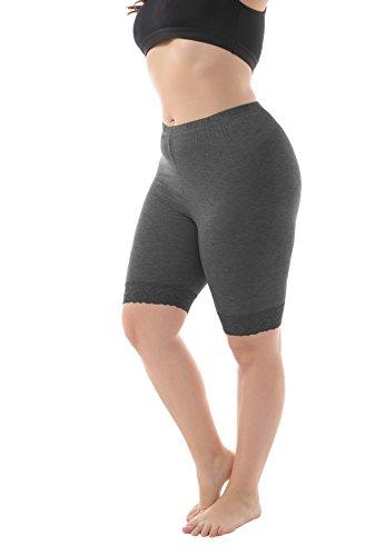 ZERDOCEAN Women's Plus Size Modal Basic Mid Thigh Short Leggings with Lace Trim Dark Gray 4X ()